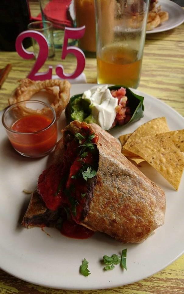 Burrito with black hummus