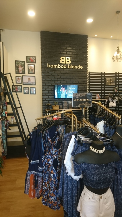 Fancy little shops with fashionable clothes, such as Bamboo Blonde pops up on every corner